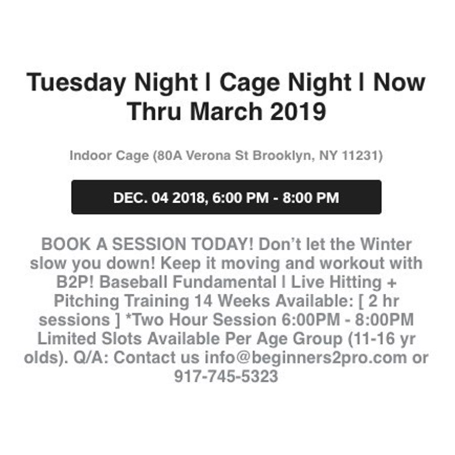 Tuesday Night | Cage Night | 12.04.18
